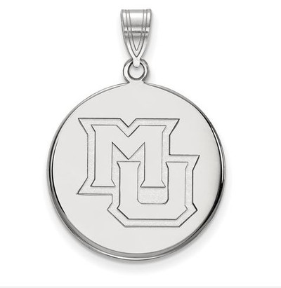 Marquette University 14k White Gold Large Disc Pendant