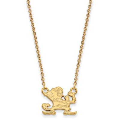 University of Notre Dame Fighting Irish Gold Plated Sterling Silver Small Pendant With Necklace
