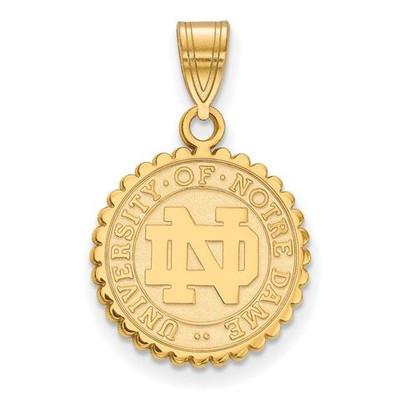 University of Notre Dame Gold Plated Sterling Silver Medium Crest Pendant | Logo Art | GP066UND