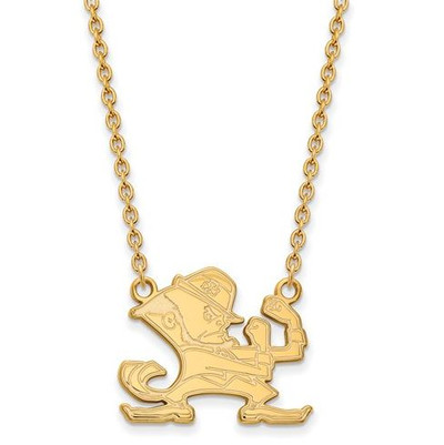 University of Notre Dame Fighting Irish Gold Plated Sterling Silver Large Pendant With Necklace