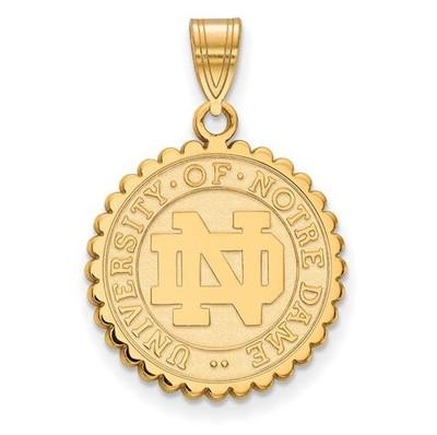 University of Notre Dame Gold Plated Sterling Silver Large Crest   Logo Art   GP067UND