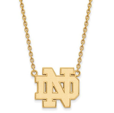 Notre Dame Fighting Irish Gold Plated Sterling Silver Large Pendant With Necklace