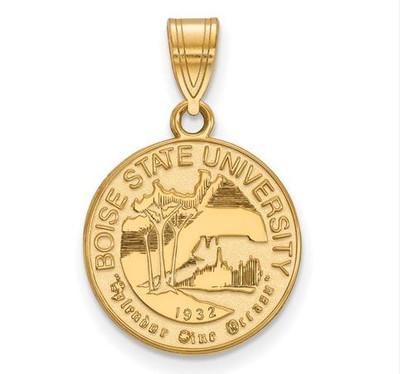 Boise State University Sterling Silver Gold Plated Medium Crest Pendant