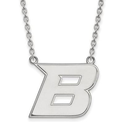 Boise State University 14k White Gold Large Pendant Necklace