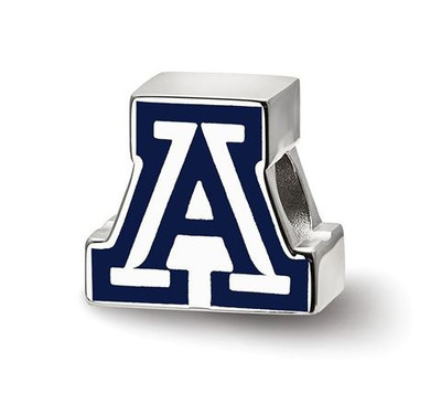 University of Arizona Sterling Silver Block A Enameled Logo Bead