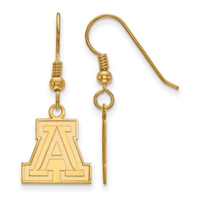 University of Arizona Wildcats Sterling Silver Gold Plated Small Dangle Earrings