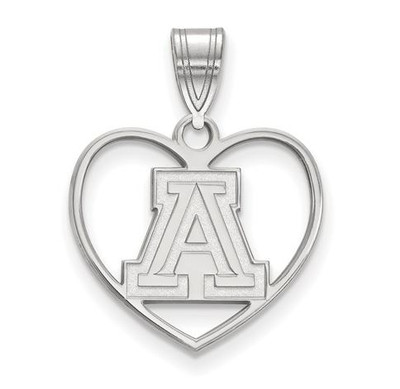 University of Arizona Sterling Silver Heart Pendant