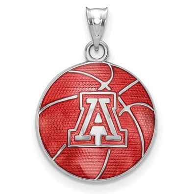 Sterling Silver The University of Arizona Enameled Basketball Pendant