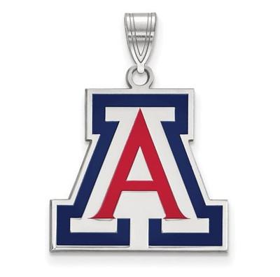 University of Arizona Sterling Silver Large Enameled Pendant