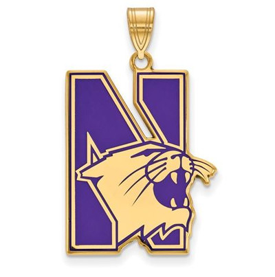 Northwestern University Sterling Silver Gold Plated Extra Large Enameled Pendant