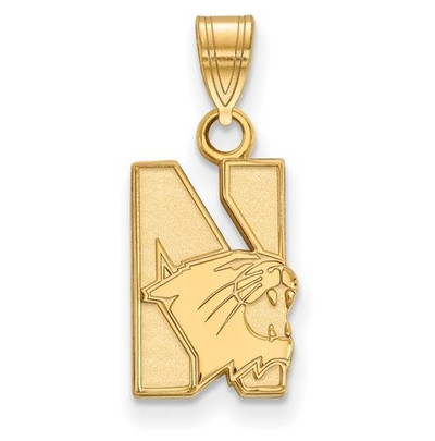 Northwestern University Wildcats Sterling Silver Gold Plated Small Pendant