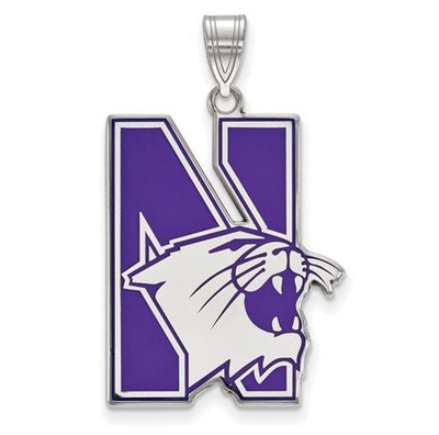 Northwestern University Sterling Silver Extra Large Enameled Pendant