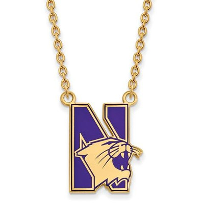 Northwestern University Sterling Silver Gold Plated Large Enameled Pendant Necklace