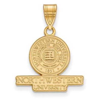 Northwestern University Sterling Silver Gold Plated Medium Crest Pendant | Logo Art | GP006NWU