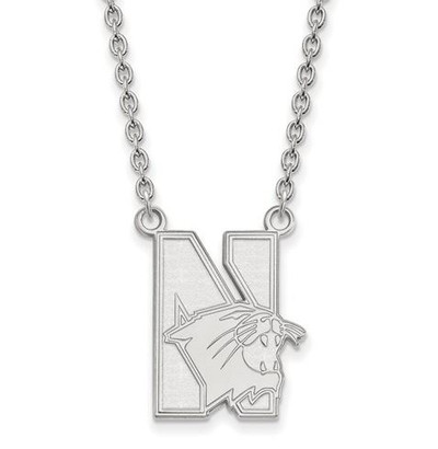 Northwestern University 10k White Gold Large Pendant Necklace