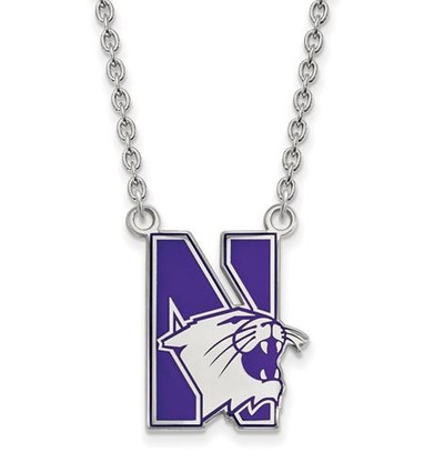 Northwestern University Sterling Silver Large Enameled Pendant Necklace