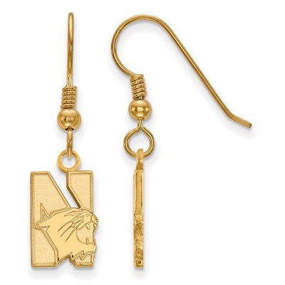Northwestern University Sterling Silver Gold Plated Small Dangle Earrings