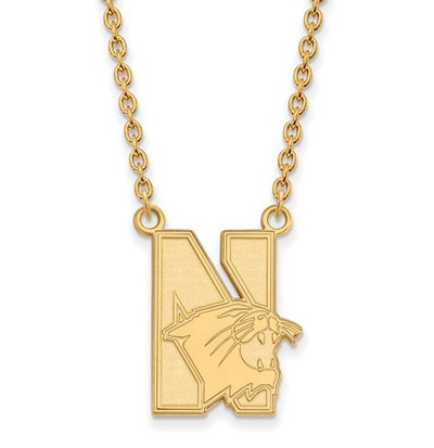 Northwestern University 10k Yellow Gold Large Pendant Necklace