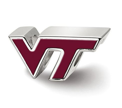 Virginia Tech Sterling Silver VT Enameled Logo Bead