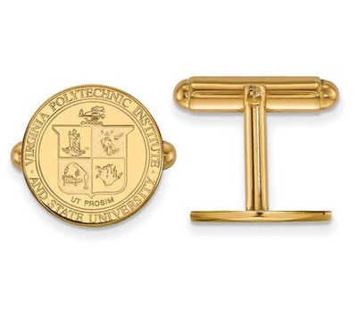 Virginia Tech Sterling Silver Gold Plated Crest Cufflinks