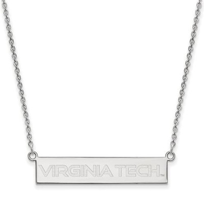 Virginia Tech Sterling Silver Small Bar Necklace
