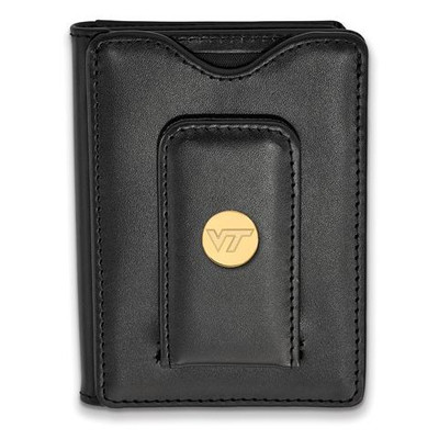 Virginia Tech Sterling Silver Gold Plated Black Leather Wallet