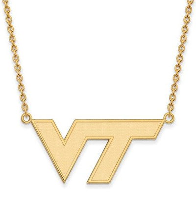 Virginia Tech Sterling Silver Gold Plated Large Pendant Necklace