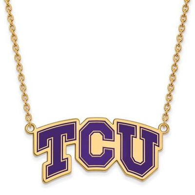 TCU Sterling Silver Gold Plated Large Enameled Pendant Necklace