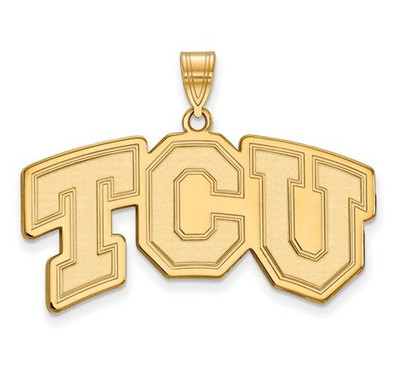 TCU Horned Frogs Sterling Silver Gold Plated Large Pendant