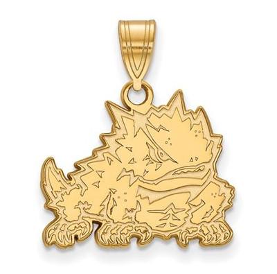 TCU Horned Frogs 10k Yellow Gold Medium Pendant
