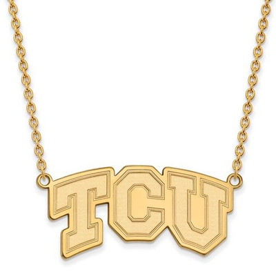 TCU Sterling Silver Gold Plated Large Pendant Necklace