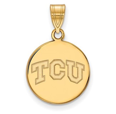 TCU Sterling Silver Gold Plated Medium Disc Pendant