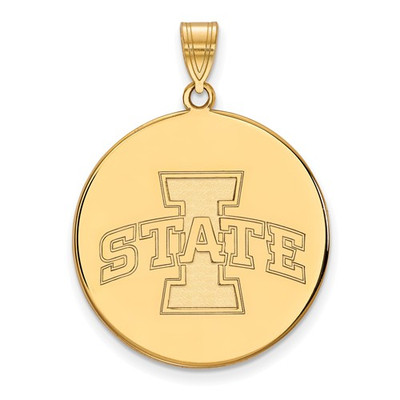 Iowa State University Sterling Silver Gold Plated Extra Large Disc Pendant