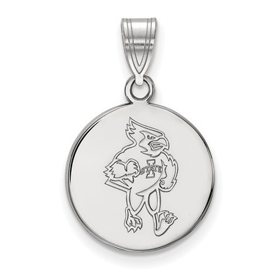 Iowa State University 10k White Gold Medium Disc Pendant