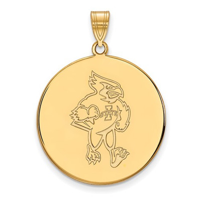 Iowa State University Cyclones Sterling Silver Gold Plated Extra Large Disc Pendant