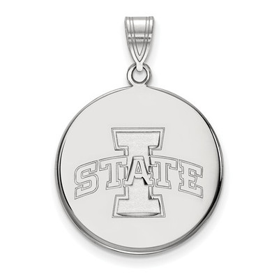 Iowa State University 10k White Gold Large Disc Pendant