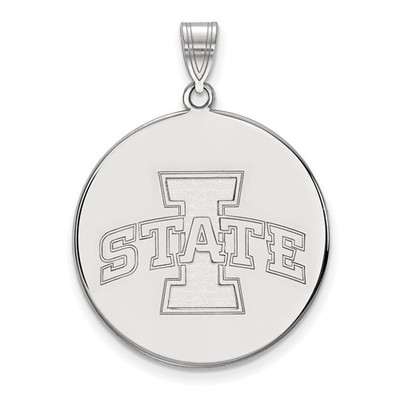 Iowa State University 14k White Gold Extra Large Disc Pendant
