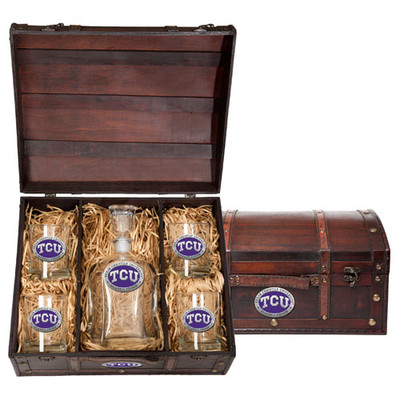 TCU Horned Frogs Capitol Decanter Chest Set