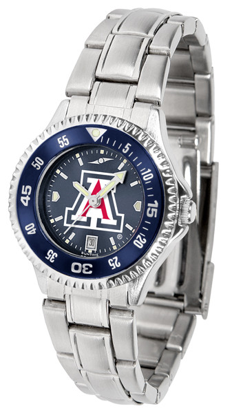 Arizona Wildcats Ladies Competitor Steel AnoChrome Watch with Color Bezel