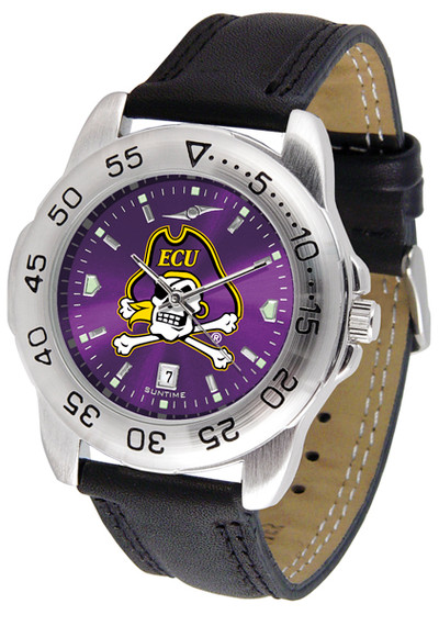 East Carolina Pirates Men's Sport Leather AnoChrome Watch