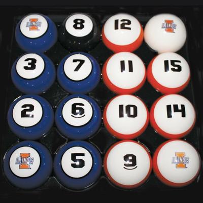 Illinois Fighting Illini Billiard Pool Ball Set | Hood Leather | 11950-ILL