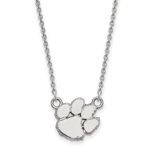 Clemson tiger paw sterling silver pendant necklace clemson tiger paw sterling silver pendant necklace logo art ss015cu 18 aloadofball Images