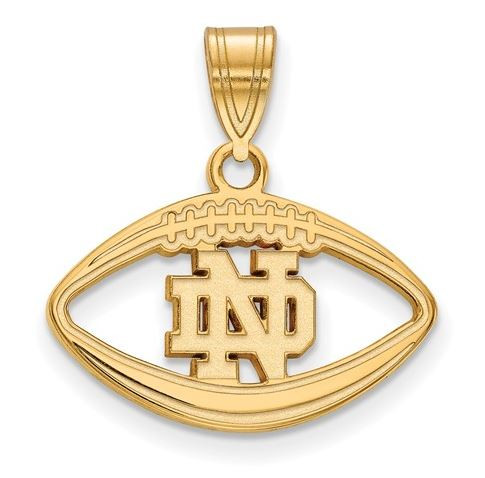 University of notre dame gold plated sterling silver football pendant university of notre dame gold plated sterling silver football pendant logo art gp019und aloadofball Image collections