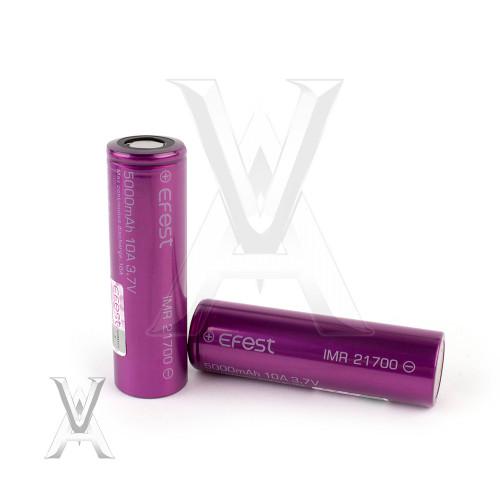 Efest (Purple) IMR 21700 (5000mAh) 10A 3.7v Battery Flat-Top - 2 Pack