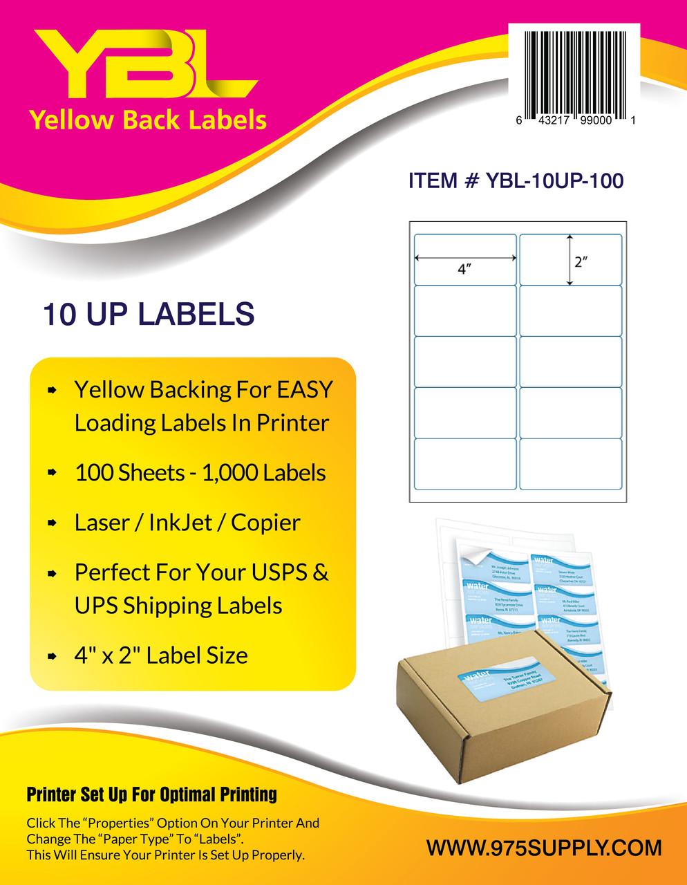 ybl labels 10 up labels 4 x 2 10 labels per sheet 975 supply