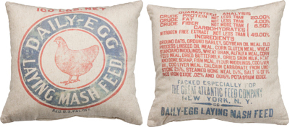 Feed Sack Pillow - Mash Feed