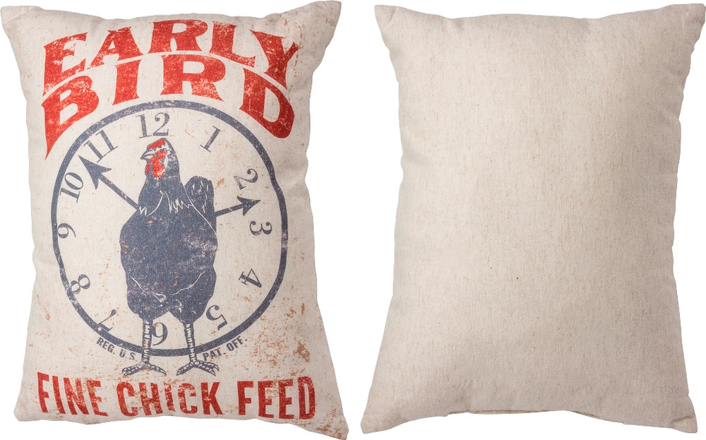 Feed Sack Pillow - Early Bird