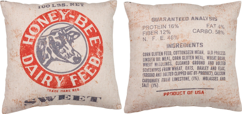 Feed Sack Pillow - Honey Bee Dairy