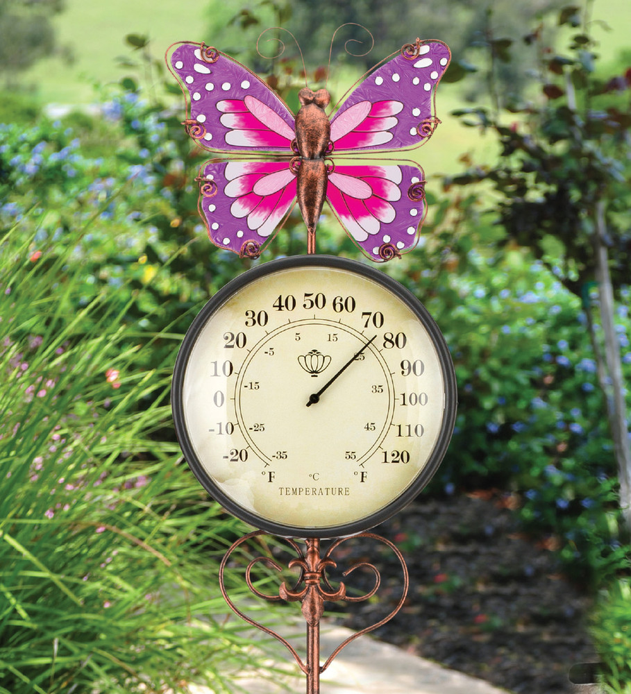Thermometer Stake - Butterfly - The Old Farmer\'s Store