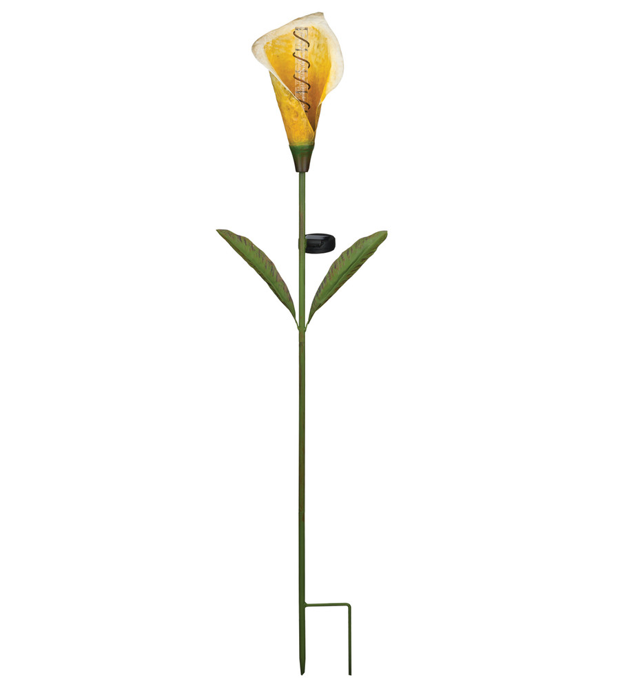 Solar Calla Lily Bubble Stake - Yellow